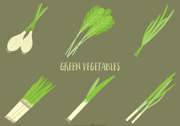 Free Green Vegetables Vector Set - бесплатный vector #391361