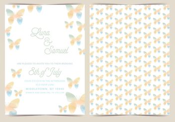 Butterfly Vector Wedding Invite - Free vector #391401