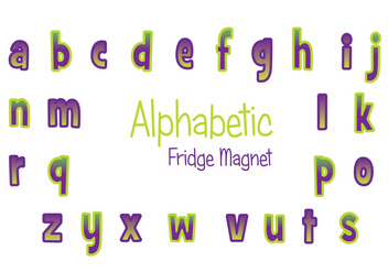 Purple and Green Fridge Magnet Vector Set - vector gratuit #391561