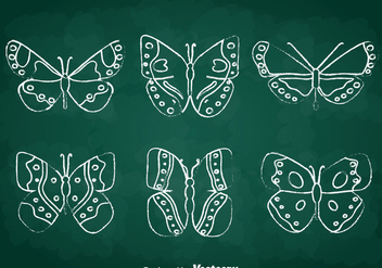 Chalkdraw Butterfly Vector Set - Kostenloses vector #391611