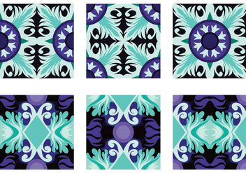 Teal and Purple Portuguesse Tile Vector - Free vector #391851