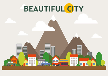 Mountainous Cityscape Vector Illustration - Free vector #391961
