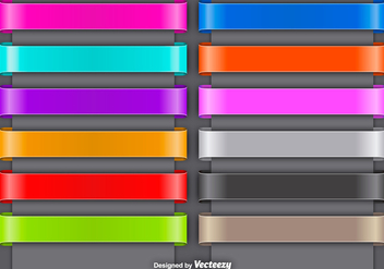 Set Of Colorful Vector Ribbons - vector gratuit #392011