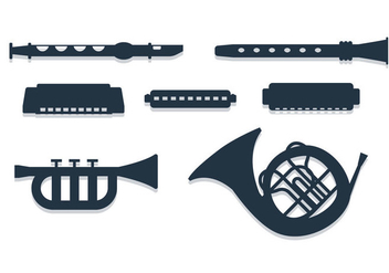 Band Instrument Vectors - vector gratuit #392071