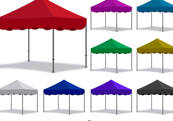 Vector Colorful Folding Tent Set - Free vector #392181