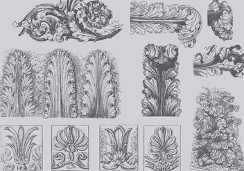 Vintage Acanthus Illustrations - Free vector #392361