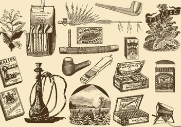 Vintage Tobacco Items - vector gratuit #392421