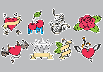 Old School Tattoo Icons - Free vector #392531