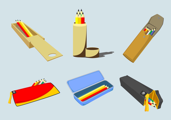 Various Pencil Cases Vector - бесплатный vector #392571
