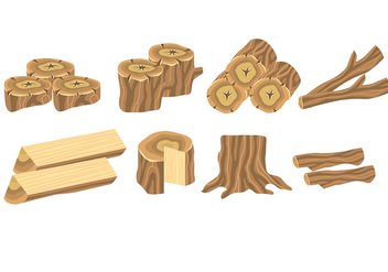 Wood Log Icons - vector #392671 gratis