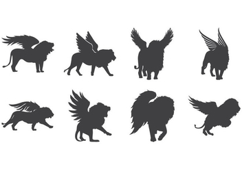 Free Winged Lion Silhouette Vector - vector #392811 gratis