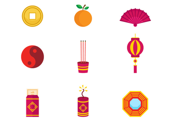 Free Chinese New Year Icons Vector - бесплатный vector #392871