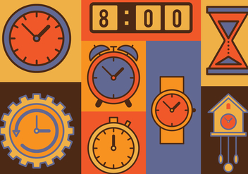 Time Vector Icons Set - vector gratuit #393031