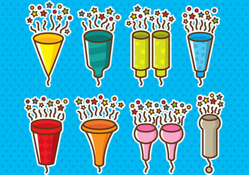 Party Popper Icons - vector #393171 gratis