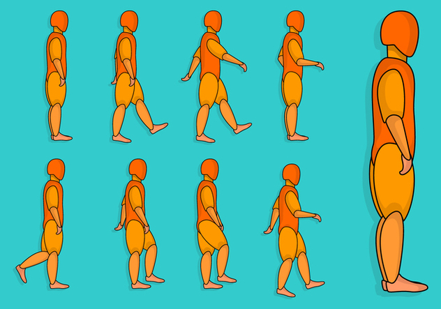 Human Walk Cycle - vector gratuit #393281