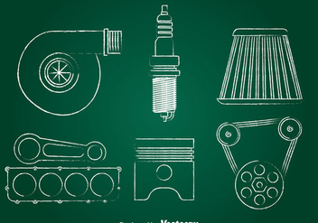 Turbo Engine Chalk Draw Icons Set - vector gratuit #393301