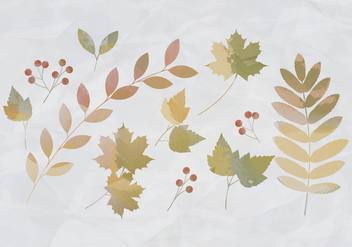 Vector Watercolor Leaves - vector gratuit #393361
