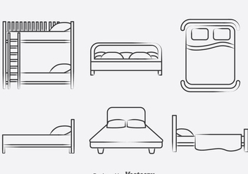 Bed Collection Icons Vector - vector gratuit #393421