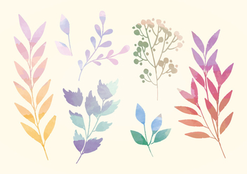 Vector Watercolor Branches - vector gratuit #393441