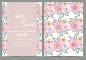 Blush Floral Vector Wedding Invite - Free vector #393531