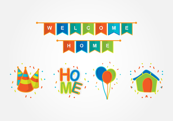 Welcome Home Party Decoration - Free vector #393581
