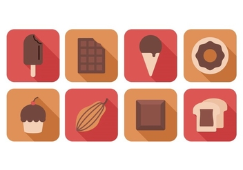 Free Chocolate Flat Icons - vector #393591 gratis