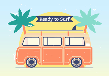 Hippie Bus Vector Background - vector gratuit #393731