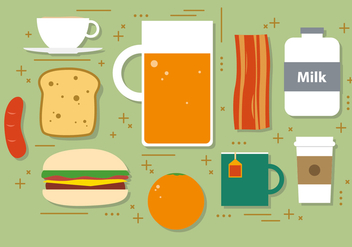 Flat Hamburger Vector Illustration - бесплатный vector #393851