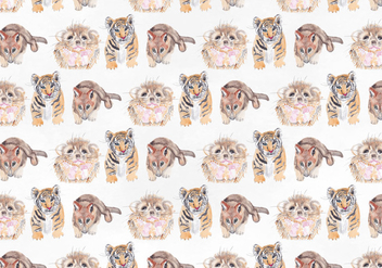 Cute Animal Vector Watercolor Pattern - Free vector #393931
