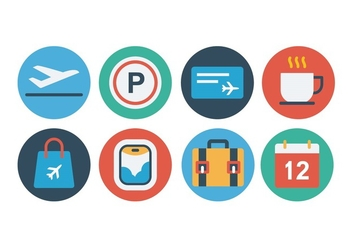 Free Airport Flat Icon Set - vector gratuit #394001