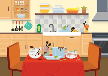 Free Dirty Dishes Illustration - Kostenloses vector #394101