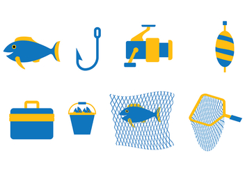 Blue Fishing Vector Set - бесплатный vector #394161
