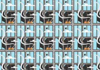 Fire and Broken Windows Pattern Vector - Free vector #394231