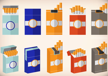 Cigarette pack design flat vector - Free vector #394251