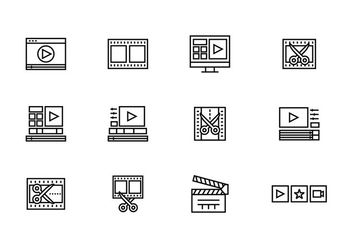 Video Editor Icons - vector gratuit #394281