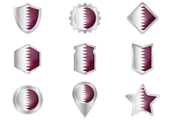 Free Qatar Flag Metal Badges Vector - vector gratuit #394391