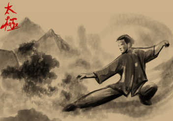 Tai Chi Painting Vector - vector gratuit #394951