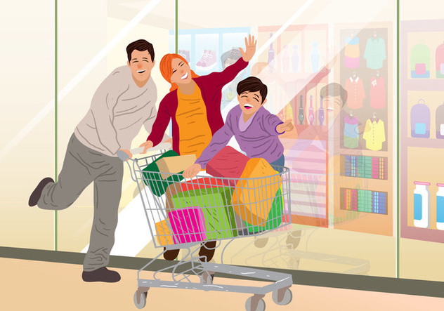 Family Shopping In Supermarket - бесплатный vector #395021