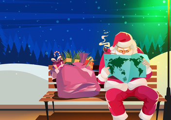 Sinterklaas Santa Reading Vector - бесплатный vector #395271