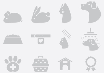 Gray Pet Care Icons - vector gratuit #395311