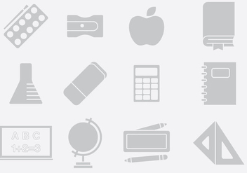 Gray School Stuff Icons - бесплатный vector #395431