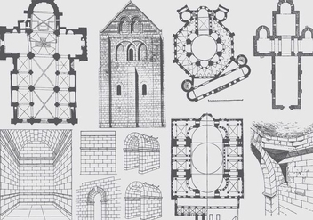 Ancient Architecture Plan And Illustrations - vector gratuit #395451