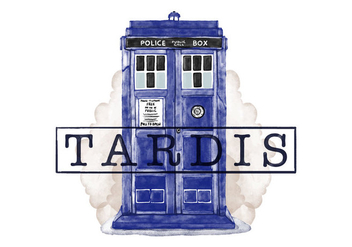 Free Tardis Police Call Box Watercolor Style - vector gratuit #395631