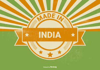 Retro Style Made in India Illustration - бесплатный vector #395721