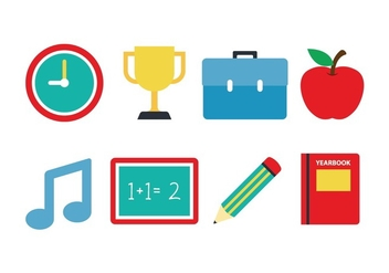 Free School Flat Icon Set - бесплатный vector #395931