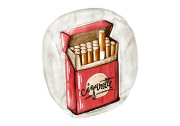 Free Cigarette Pack Watercolor Vector - Free vector #396141