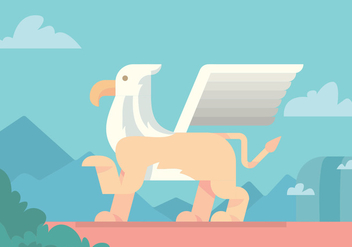 Winged Lion Vector Design - бесплатный vector #396351