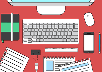 Vector Office Desk Illustration - Free vector #396371