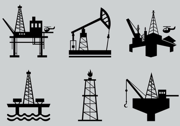 Oil field silhouette vector pack - бесплатный vector #396401