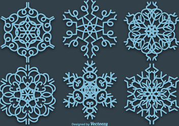 Set Of 6 Vector Blue Snowflakes - Free vector #396471
